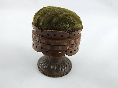 Antique carved coquilla nut pin cushion c 1850 CUSION sewing doll house