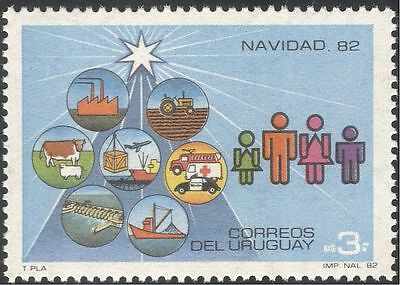 Uruguay 1982 Christmas/Fire Engine/Police Car/Tractor/Cattle/Dam/Boats 1v n32197