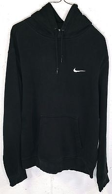 Nike Mens Black Long Sleeve Pocket Hoodie Hooded Sweatshirt Large White Swoosh