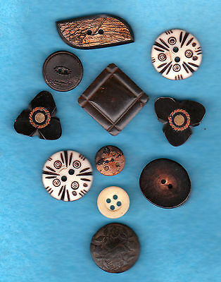 antique BONE-HORN & ANTLER BUTTONS mix lot of different shapes & designs