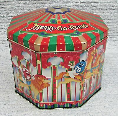 "Vintage 1997 M&M's Merry Go Round Old Ltd Edition Empty 5"" Candy Tin Can FREE SH"