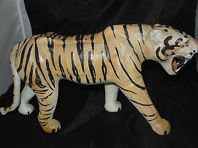 Vintage Paper Mache Leather Bengal Tiger Statue Yellow Glass Eyes