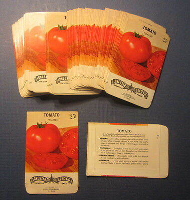 Wholesale Lot of 100 Old Vintage 1960's - TOMATO Nematex - SEED PACKETS - EMPTY
