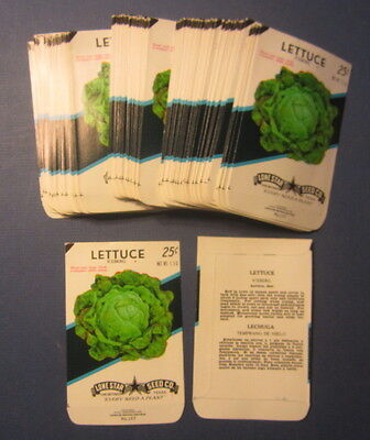 Wholesale Lot of 100 Old Vintage LETTUCE Iceberg Vegetable SEED PACKETS - EMPTY