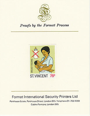 St Vincent (2072) - 1987 Child Health 75c imperf on Format Int PROOF  CARD