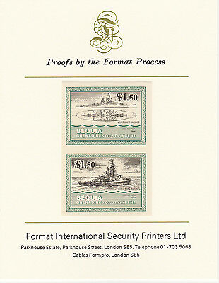 Bequia (2074) - 1985 Warships of WW2 $1.50  imperf on Format Int PROOF  CARD