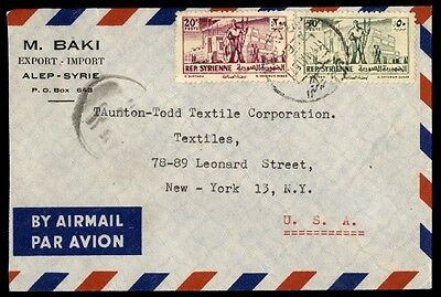 Syria colorable franking uncommercial cover to New York City Alep