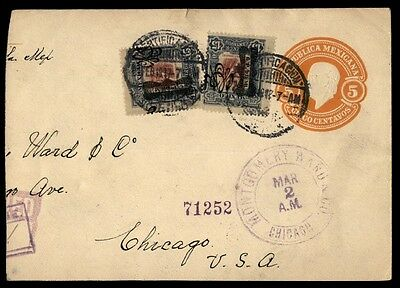 Mexico to US Chicago IL 1917 Uprated Registered Staitonery Cover Mont Ward