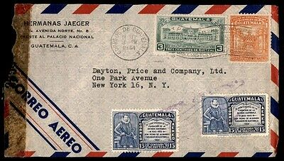 1944 Guatemala censored airmail cover to New York City USA colorful Franking