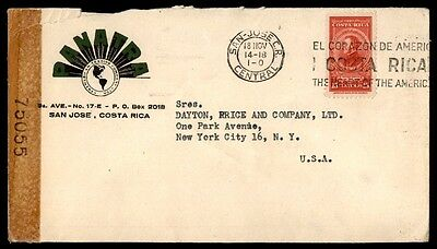 San Jose Costa Rica censored 75055 cover with slogan cancel to USA 1910s