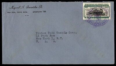Costa Rica cover to New York City USA with train issue single Franked