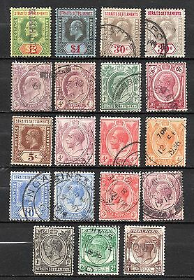 Straits Settlements MALAYSIA EVII & KGV collection GB colony definitives to $2