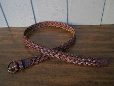 Handmade in Argentina of Braided Genuine Leather men's belt Size 34.Brown.