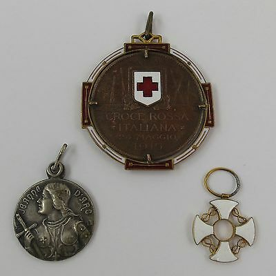 ITALY 1915 RED CROSS MEDAL Pendant 24 MAGGIO 1915  JOAN OF ARC 1914 1918 VICTORY