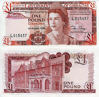GIBRALTAR 1 Pound Banknote World Paper Money UNC Currency Pick p-20e Queen Bill