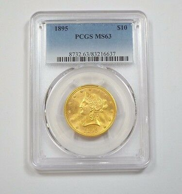 1895 GOLD Liberty Head Eagle $10 Coin CERTIFIED PCGS MS 63