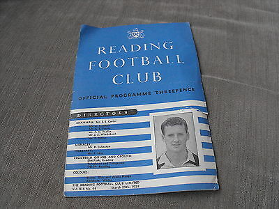 READING v SWINDON TOWN 29/3/58, DIVISION 3 (SOUTH)