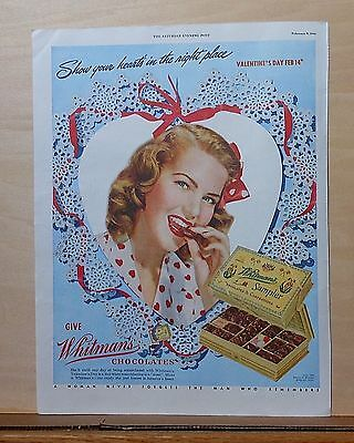 1946 magazine ad for Whitman Chocolates - Show you heart's in the right place