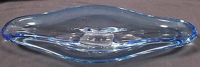 "1950's Scandinavian Art Glass winged bowl signed sapphire blue 39cm 15"" long"