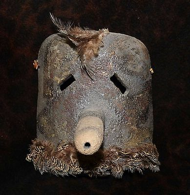 """Unusual Wall Art Pottery Hopi Style Ceremonial  Mask by A.R. Bass 1994 7"""" x 7"""""""