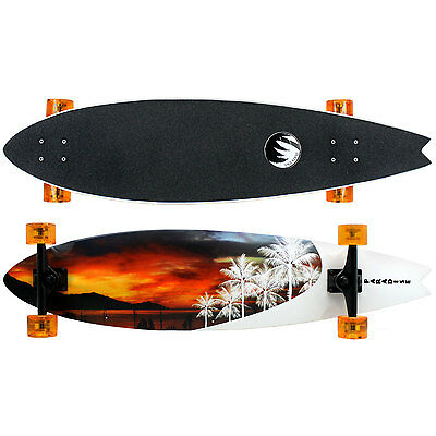 PARADISE Longboard Complete WHITE SUNSET FISH TAIL Skateboard 9.5 X 39.5