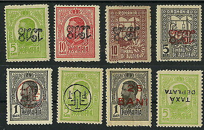8 Stamps = Errors Very Rare (Overprint = Inverted) Old Romania 1918 - Mnh