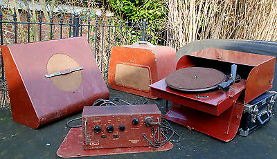 Pamphonic 1940s/50s (Pye) Mono Valve Amplifier, Record Player and Speakers Rare!