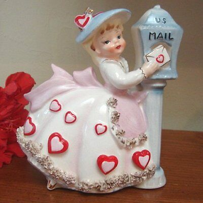 RARE ViNtAgE RELPO Girl Valentine Heart Figurine Planter by US Mail Box w Letter