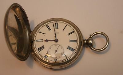 A Heavy solid silver victorian Gents hunter pocket watch Not working