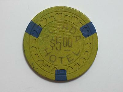HOTEL NEVADA - ELY - $5 CASINO GAMING CHIP - RCTHRT 1940s EASTERN NEVADAS FINEST