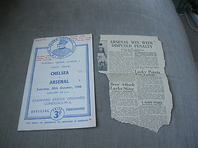 CHELSEA v ARSENAL 30/10/48 , FOOTBALL LEAGUE DIVISION 1 - &  MATCH REPORT