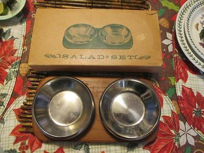 Rare Mid Century Sweden 18/8 Stainless Steel Salad Bowls With Teak Tray In Box