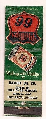 Haydon Oil Co. Phillips 66 Products Iron River MI Phone 666 Matchcover 021617