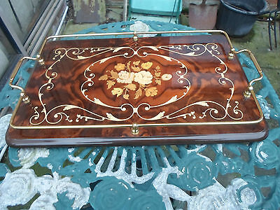 Sorrento Ware ?  Inlaid Wooden Serving Tray with Brass Sides and Handle