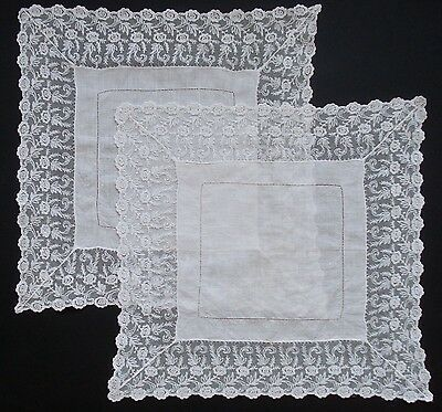 2 Antique Deep Lace Edged Fine Linen Bridal Handkerchiefs Hankies In Ivory White