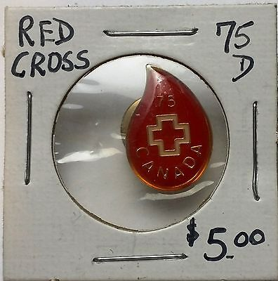 Vintage Red Cross Canada 75 D Lapel Pin / Badge - Free Combined S/H