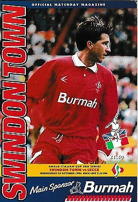 Football Programme SWINDON TOWN v LECCE Oct 1994 Anglo Italian Cup