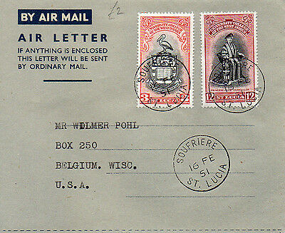 1951 St Lucia Air Letter to USA