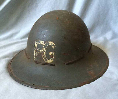 British WW2 Fire Guard 'FG' Helmet with Liner. Home Front 1939-45
