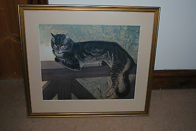 Classic Art Print Cat on Fence Prof framed non reflective glass Collect only HR1