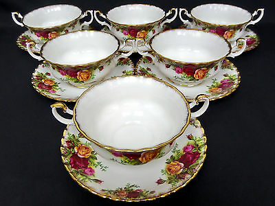 6 OLD COUNTRY ROSES SOUP COUPES & SAUCERS, 1st QLTY, GC, 1962-73, ROYAL ALBERT