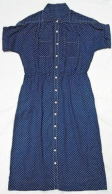 Vintage dress -1940s style polka dot - stretchy waist seam - approx size 14/16
