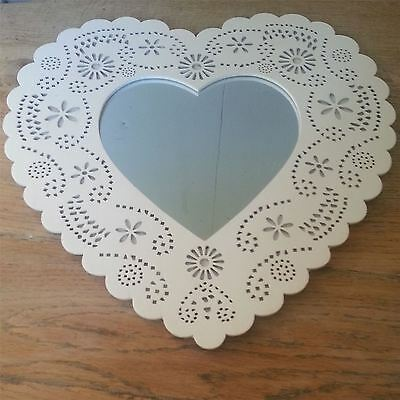 Nordic Pretty White Wooden Heart Wall Mirror Bedroom Home Decor Gift Chic Shabby