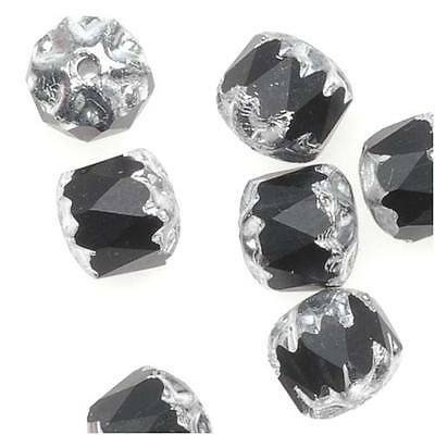 Czech Cathedral Glass Beads 6mm Matte Jet Black/Silver