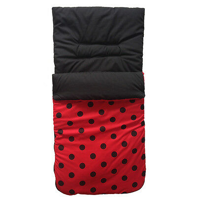 New Red Black Polka Dots Ladybird cosytoes footmuff liner for pushchair HAUCK+