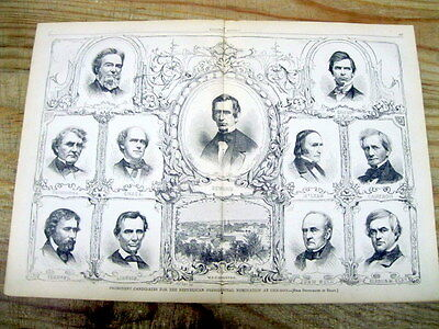 1860 illustrated poster w 11 REPUBLICAN PARTY CANDIDATES 4 PRESIDENT inc LINCOLN