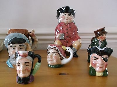 art one x7 vintage toby jugs 2 medium sized 5 small suit collector