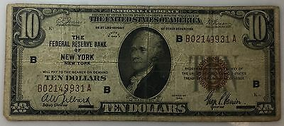 1929 $10 National Currency Brown Seal New York Circulated No Reserve! PM-83