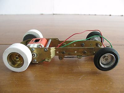 Vintage 1960s 1/24 Monogram Competition Brass Chassis w/ Classic 36D Motor VG