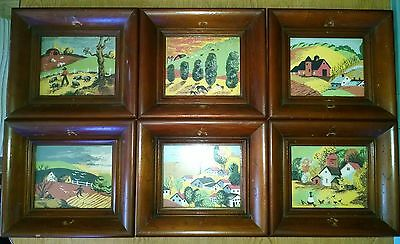 6 Pc Lot Vintage Margo Alexander Sophisticated Provincial Folk Art Framed Prints